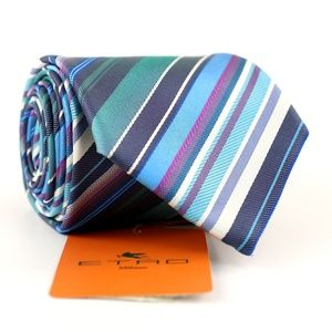 New ETRO Silk Necktie Tie - Multi-Color Stripes
